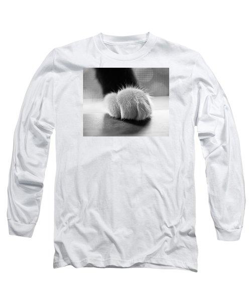 Tuxedo Cat Paw Black And White Long Sleeve T-Shirt