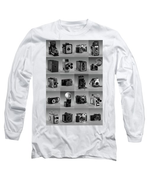 Twenty Old Cameras - Black And White Long Sleeve T-Shirt