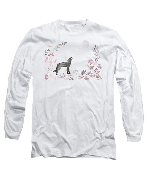 Twilight Wolf Long Sleeve T-Shirt by Amanda Lakey