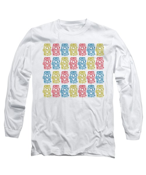 Long Sleeve T-Shirt featuring the drawing Twin Lens Camera Pattern by Setsiri Silapasuwanchai