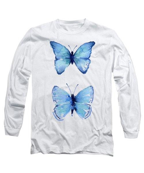 Two Blue Butterflies Watercolor Long Sleeve T-Shirt