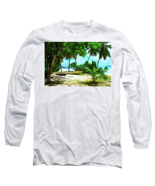 Two Boats On Tropical Beach Long Sleeve T-Shirt