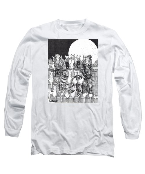 Long Sleeve T-Shirt featuring the drawing Two Dozen And One Cats by Seth Weaver