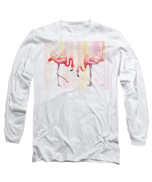 Two Flamingos Watercolor Long Sleeve T-Shirt