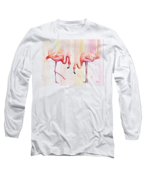 Two Flamingos Watercolor Long Sleeve T-Shirt
