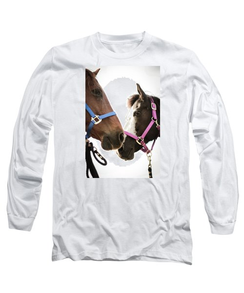 Long Sleeve T-Shirt featuring the photograph Two Horses Nose To Nose In Color by Kelly Hazel