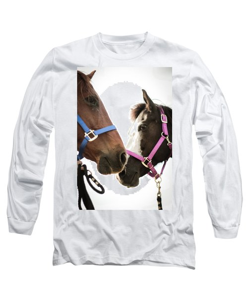 Two Horses Nose To Nose In Color Long Sleeve T-Shirt