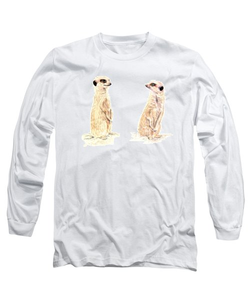 Long Sleeve T-Shirt featuring the mixed media Two Meerkats by Elizabeth Lock