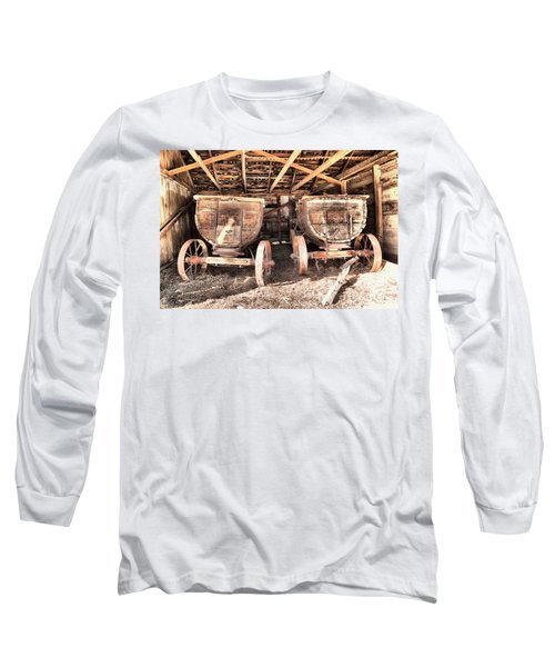 Long Sleeve T-Shirt featuring the photograph Two Old Wagons by Jeff Swan