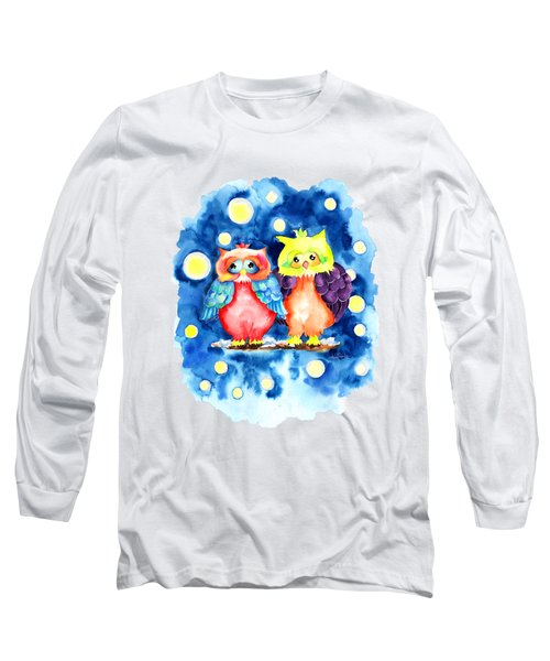 Two Owls And A Starry Night Long Sleeve T-Shirt