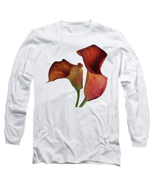 Two Rust Calla Lilies Square Long Sleeve T-Shirt
