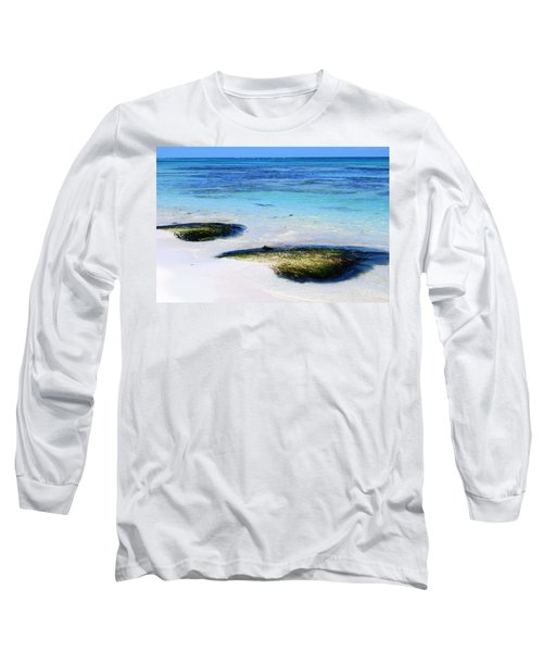 Two Seaweed Mounds On Punta Cana Resort Beach Long Sleeve T-Shirt