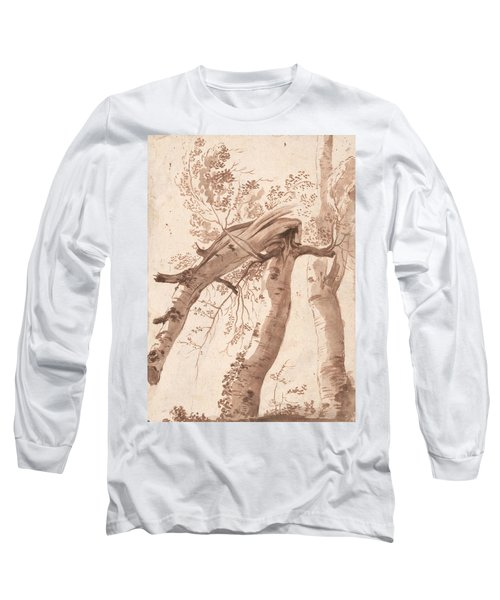 Two Silver Birches, The Front One Fallen Long Sleeve T-Shirt