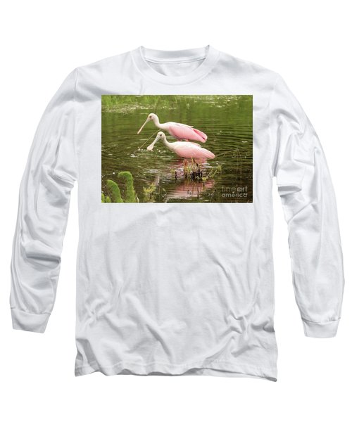 Two Spoonbills In Pond Long Sleeve T-Shirt by Carol Groenen