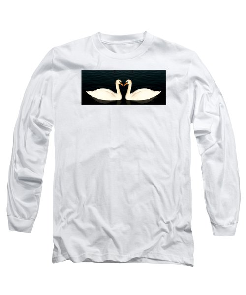 Two Symmetrical White Love Swans Long Sleeve T-Shirt by John Williams