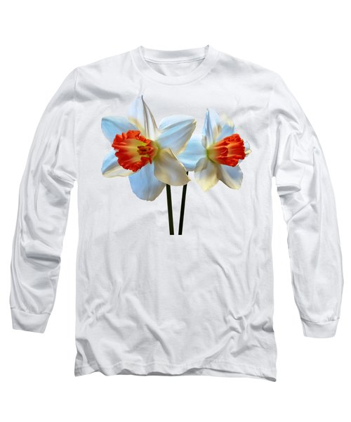 Two White And Orange Daffodils Long Sleeve T-Shirt