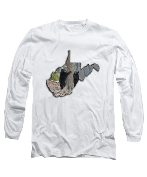 Two Young Black Bear Standing By Tree Long Sleeve T-Shirt