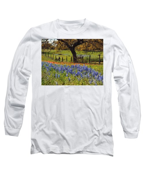 Tx Tradition, Bluebonnets Long Sleeve T-Shirt by Lisa Spencer