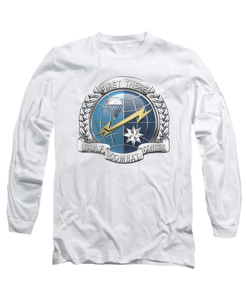 U. S.  Air Force Combat Control Teams - Combat Controller C C T Badge Over White Leather Long Sleeve T-Shirt by Serge Averbukh