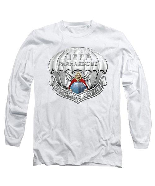 U. S.  Air Force Pararescuemen - P J Badge Over Blue Velvet Long Sleeve T-Shirt by Serge Averbukh