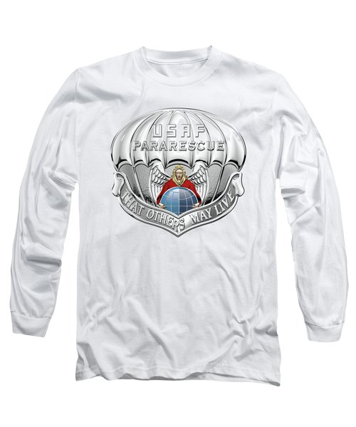 U. S.  Air Force Pararescuemen - P J Badge Over White Leather Long Sleeve T-Shirt by Serge Averbukh