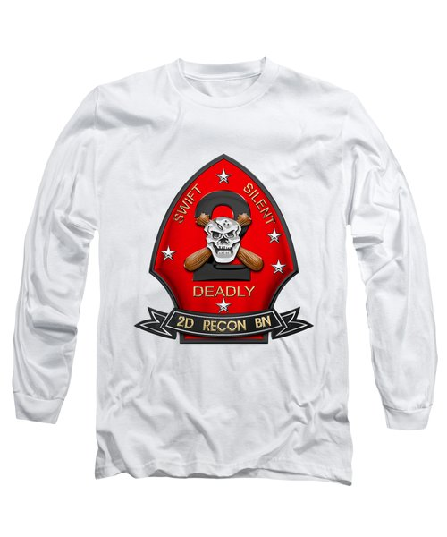 U S M C  2nd Reconnaissance Battalion -  2nd Recon Bn Insignia Over White Leather Long Sleeve T-Shirt