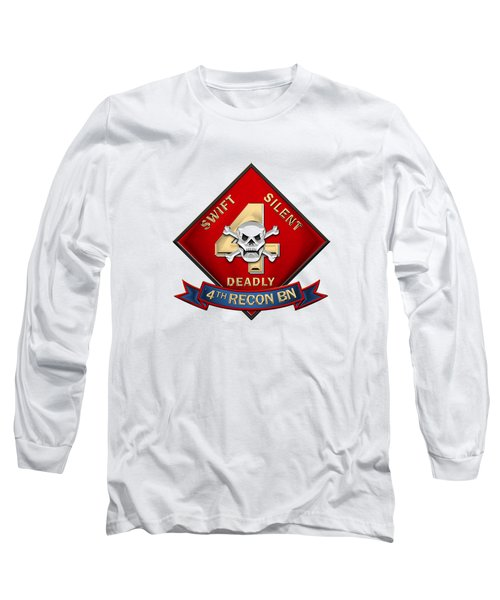 U S M C  4th Reconnaissance Battalion -  4th Recon Bn Insignia Over White Leather Long Sleeve T-Shirt
