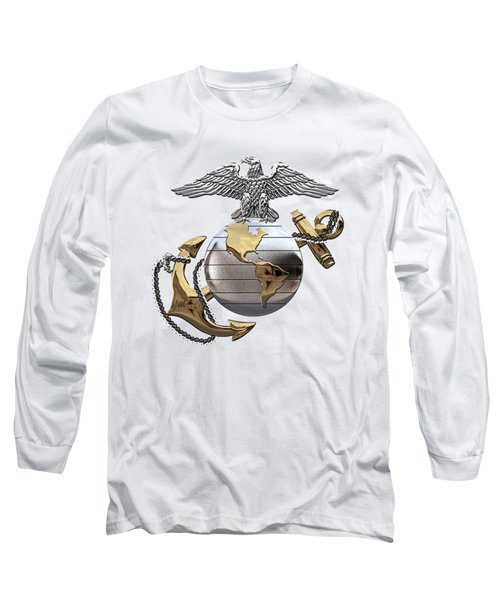 U S M C Eagle Globe And Anchor - C O And Warrant Officer E G A Over White Leather Long Sleeve T-Shirt
