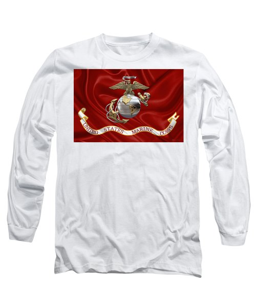 U. S.  Marine Corps - U S M C Eagle Globe And Anchor Over Corps Flag Long Sleeve T-Shirt