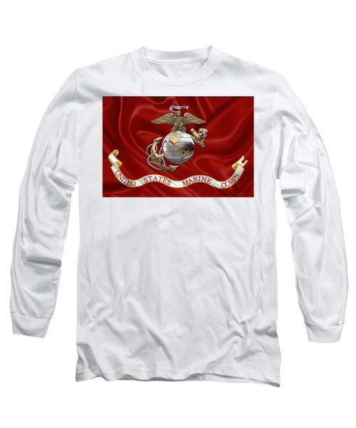 U. S.  Marine Corps - U S M C Eagle Globe And Anchor Over Corps Flag Long Sleeve T-Shirt