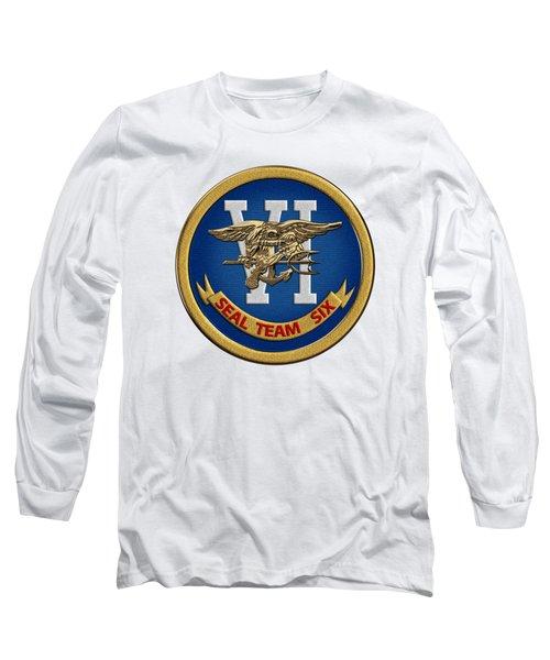 U. S. Navy S E A Ls - S E A L Team Six  -  S T 6  Patch Over White Leather Long Sleeve T-Shirt