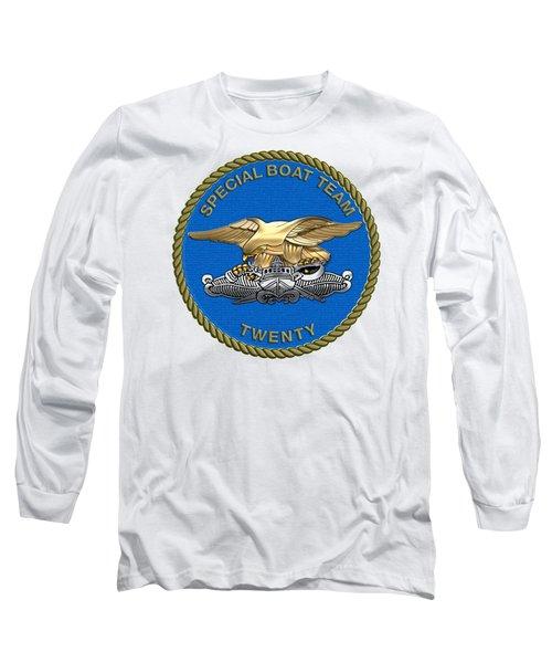U. S. Navy S W C C - Special Boat Team 20   -  S B T 20   Patch Over White Leather Long Sleeve T-Shirt