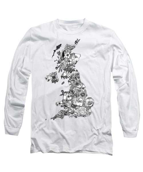 Uk Map Long Sleeve T-Shirt by Hannah Edge