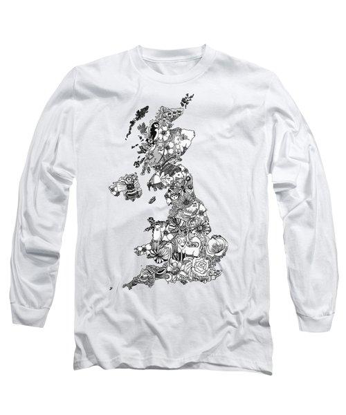 Uk Map Long Sleeve T-Shirt by Hannah Edge