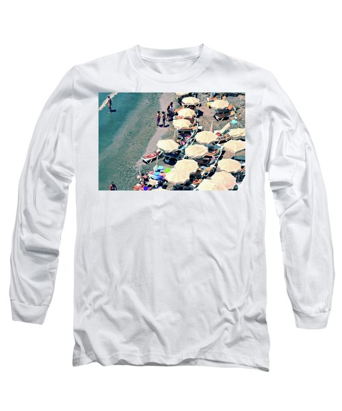Long Sleeve T-Shirt featuring the photograph Umbrellas On The Beach - Nerja by Mary Machare