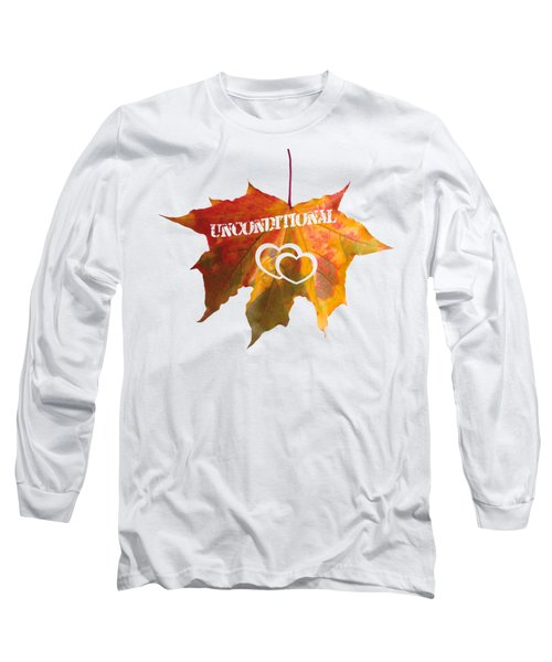 Unconditional Love Typography Carved On A Fall Leaf Long Sleeve T-Shirt