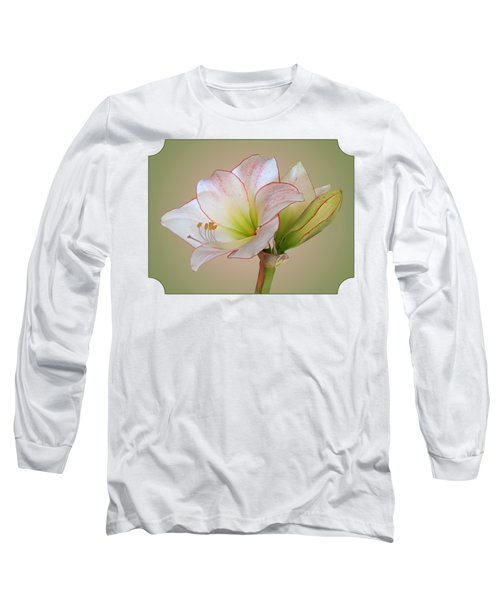 Unfurling Beauty - White Amaryllis With Red Trim Long Sleeve T-Shirt
