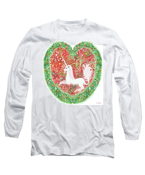 Unicorn Heart With Millefleurs Long Sleeve T-Shirt by Lise Winne