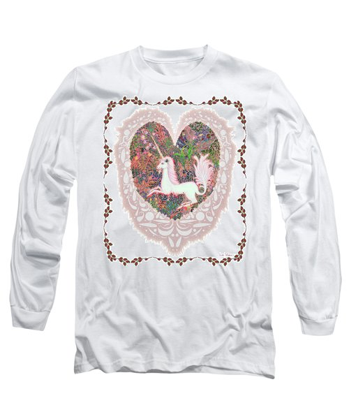 Long Sleeve T-Shirt featuring the digital art Unicorn In A Pink Heart by Lise Winne