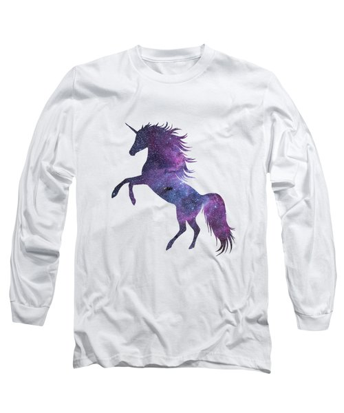 Unicorn In Space-transparent Background Long Sleeve T-Shirt by Jacob Kuch