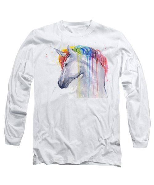Unicorn Rainbow Watercolor Long Sleeve T-Shirt by Olga Shvartsur