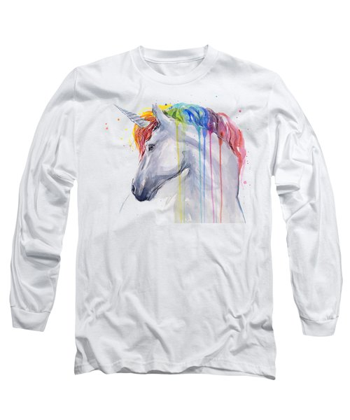 Unicorn Rainbow Watercolor Long Sleeve T-Shirt