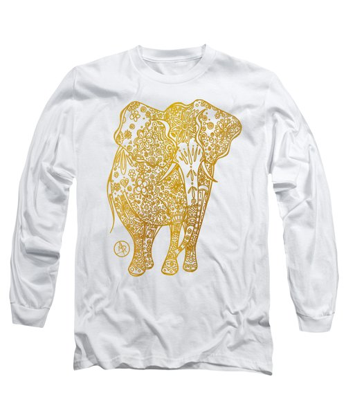 Unique Golden Elephant Art Drawing By Megan Duncanson Long Sleeve T-Shirt by Megan Duncanson