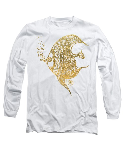 Unique Golden Tropical Fish Art Drawing By Megan Duncanson Long Sleeve T-Shirt