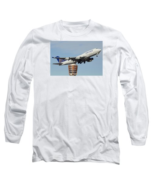 United Boeing 747-422 N128ua Phoenix Sky Harbor January 2 2015 Long Sleeve T-Shirt by Brian Lockett