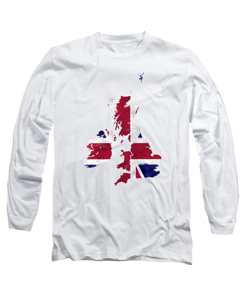United Kingdom Map Art With Flag Design Long Sleeve T-Shirt