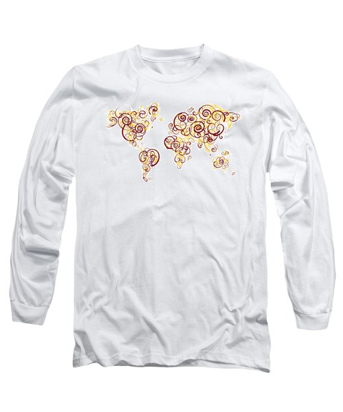 University Of Minnesota Twin Cities Colors Swirl Map Of The Worl Long Sleeve T-Shirt