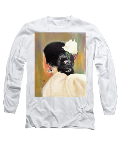 Untitled Dancer With White Flower Long Sleeve T-Shirt by Manuel Sanchez