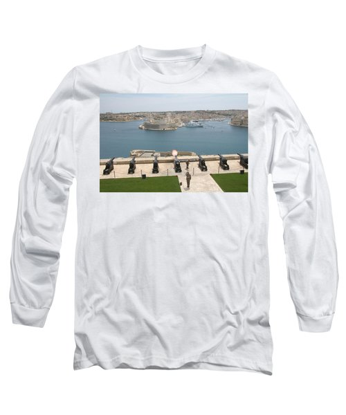 Long Sleeve T-Shirt featuring the photograph Upper Barrakka Saluting Battery by Travel Pics