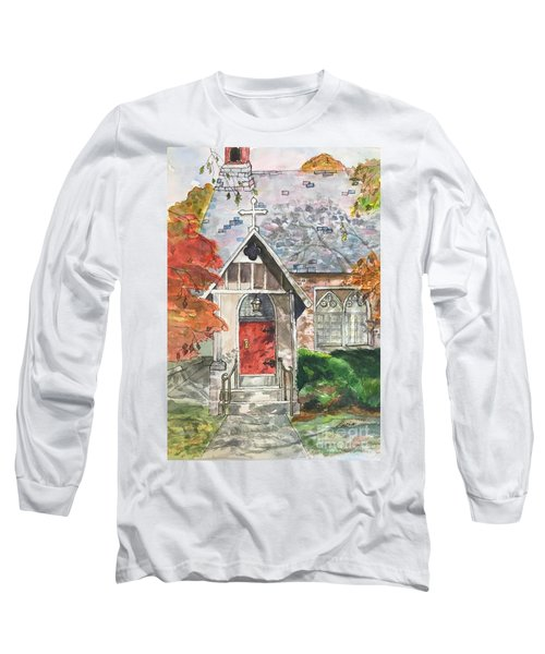 Long Sleeve T-Shirt featuring the painting Urban  Church Sketching by Lucia Grilletto